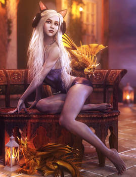 On Vacation, White Haired Fantasy Woman Art, Iray