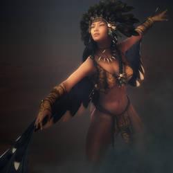 The Dance, Fantasy Native American Woman 3D-Art by shibashake