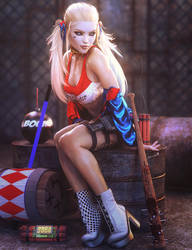 My Favorite Things, Harley Quinn Pin-Up,DC Fan-Art by shibashake