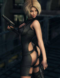 Blonde Assassin, Fantasy Woman Art, Daz Studio by shibashake