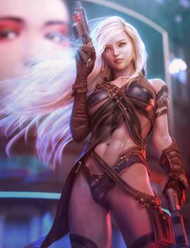 Hunter, Blonde Fantasy Sci-Fi Girl with Guns Art