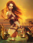 Dragons at Play, Red-Head Fantasy Woman Art, Iray