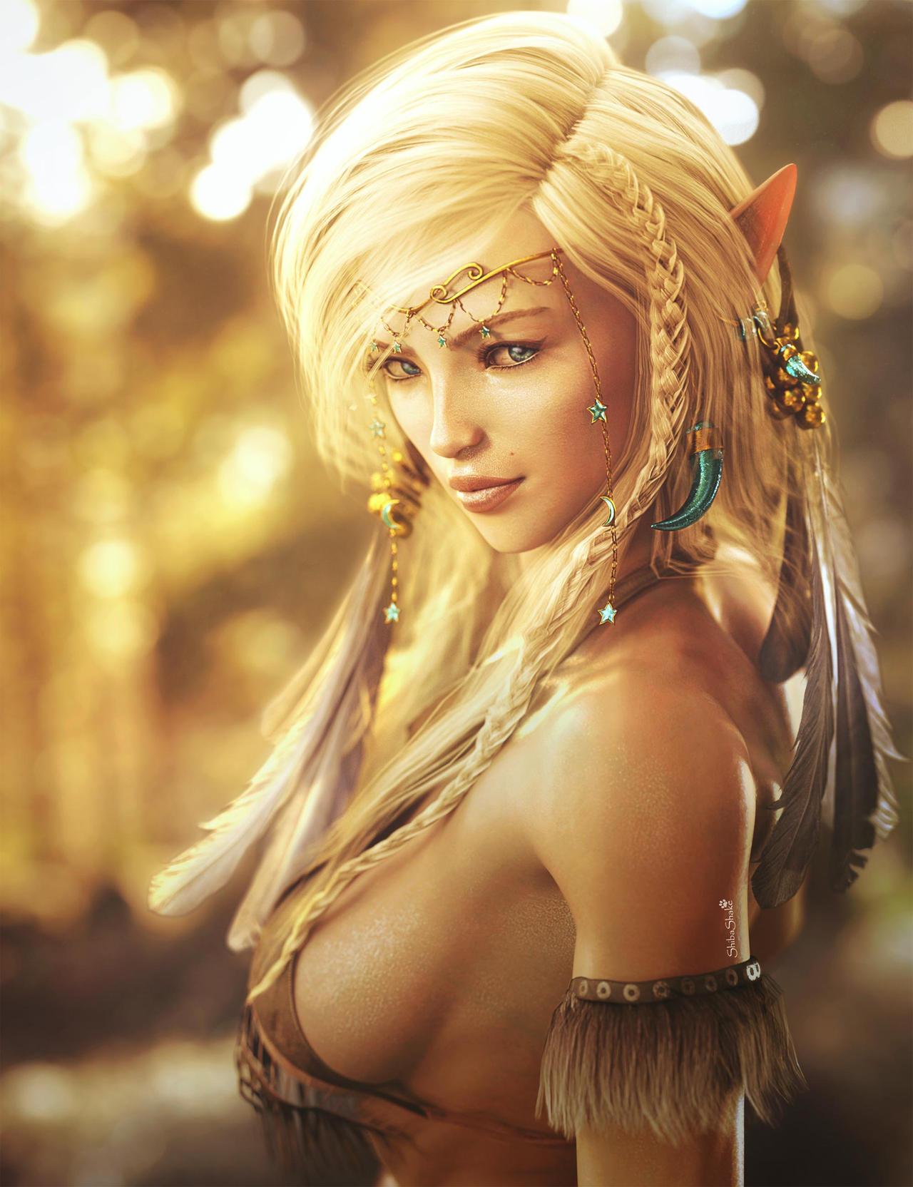 Elf Girl Portrait, Fantasy Woman Art, Daz Studio