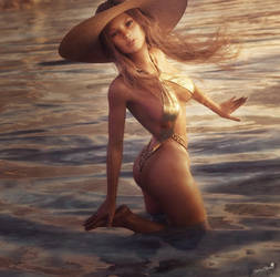Dancing in the Water, Blonde Girl Pin-Up Art, Iray