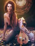 Blue Eyes, Fantasy Woman Pin-Up Art, Daz Studio