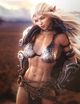 Elf Girl Warrior, Fantasy Woman Art, Daz Studio