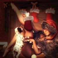 Christmas Stockings, Holiday Girl Pin-up Art by shibashake