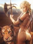 Elf Warrior Girl and Tiger, Fantasy Woman Art