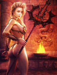Spear Maiden, Blond Warrior Woman Fantasy 3D-Art by shibashake