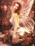 Puppies!, Fantasy Fairy Woman Art, Daz Sutdio Iray by shibashake