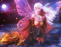 Moonlight, White-Haired Elf Fantasy Woman Art