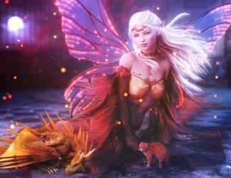 Moonlight, White-Haired Elf Fantasy Woman Art by shibashake