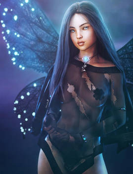 Dark Fairy, Black-Haired Fantasy Woman Art, Iray