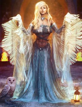 White Owl, Blonde Fantasy Elf Woman Art, DS Iray