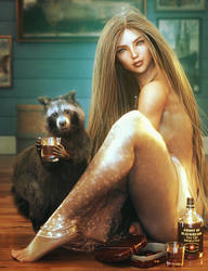 Drinking Buddy, Blond Fantasy Woman Pin-Up Art