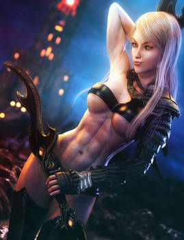 Dark Tower, Fantasy Warrior Woman Art, Daz Studio