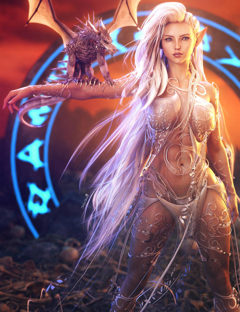 The Gate, Fantasy White-Elf Girl and Dragon Art by shibashake