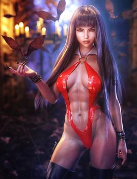Vampirella Fan-Art, Sexy Fantasy Woman and Bats