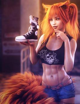 Sneaky Kitty, Redhead Fantasy Cat Girl Art, Iray