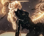 Light vs Dark, Fantasy Sci-Fi Women Art,Daz Studio