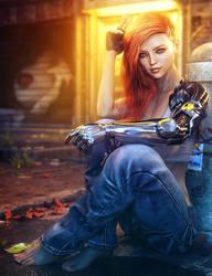 Taking a Break, Cyborg Woman Sci-Fi Fantasy Art
