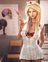 Won't Hurt A Bit, Nurse Fantasy Woman Pin-Up Art by shibashake