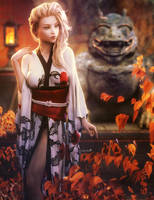 Kimono, Blonde Fantasy Woman Art, Daz Studio Iray