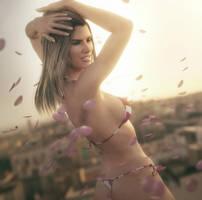 Pink Petals, Bikini Girl Pin-Up Art, Daz Studio by shibashake