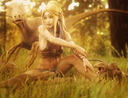 Hanging with Friends, Blonde Elf Girl Fantasy Art