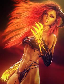 Sexy Red-Head Devil Girl, Fantasy Woman Art, Iray