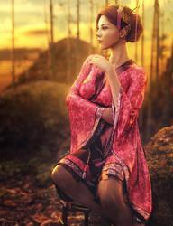 Asian Sunset, Kimono Woman Fantasy Art, DS Iray by shibashake