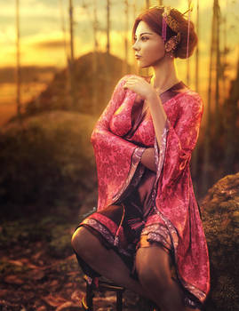 Asian Sunset, Kimono Woman Fantasy Art, DS Iray