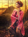 Asian Sunset, Kimono Woman Fantasy Art, DS Iray