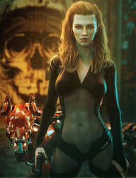 Bad-Ass Girl with Guns, Sci-Fi Fantasy Woman Art by shibashake