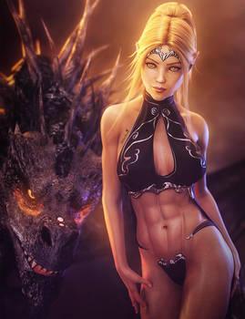 Elf Girl and Black Dragon, Fantasy Woman Art, Iray