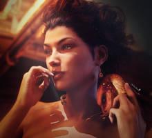 Dragon Lady, Fantasy Woman Portrait Art, DS Iray