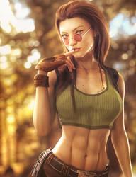 New Hairdo, Lara Croft Fantasy Woman Fan-Art, Iray