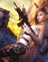 Bad Bunny Girl with Guns, Sci-Fi Fantasy Woman Art by shibashake