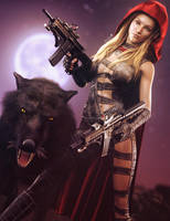 Big Bad Red, Fantasy Woman with Guns Art, DS Iray by shibashake