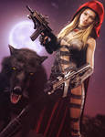Big Bad Red, Fantasy Woman with Guns Art, DS Iray