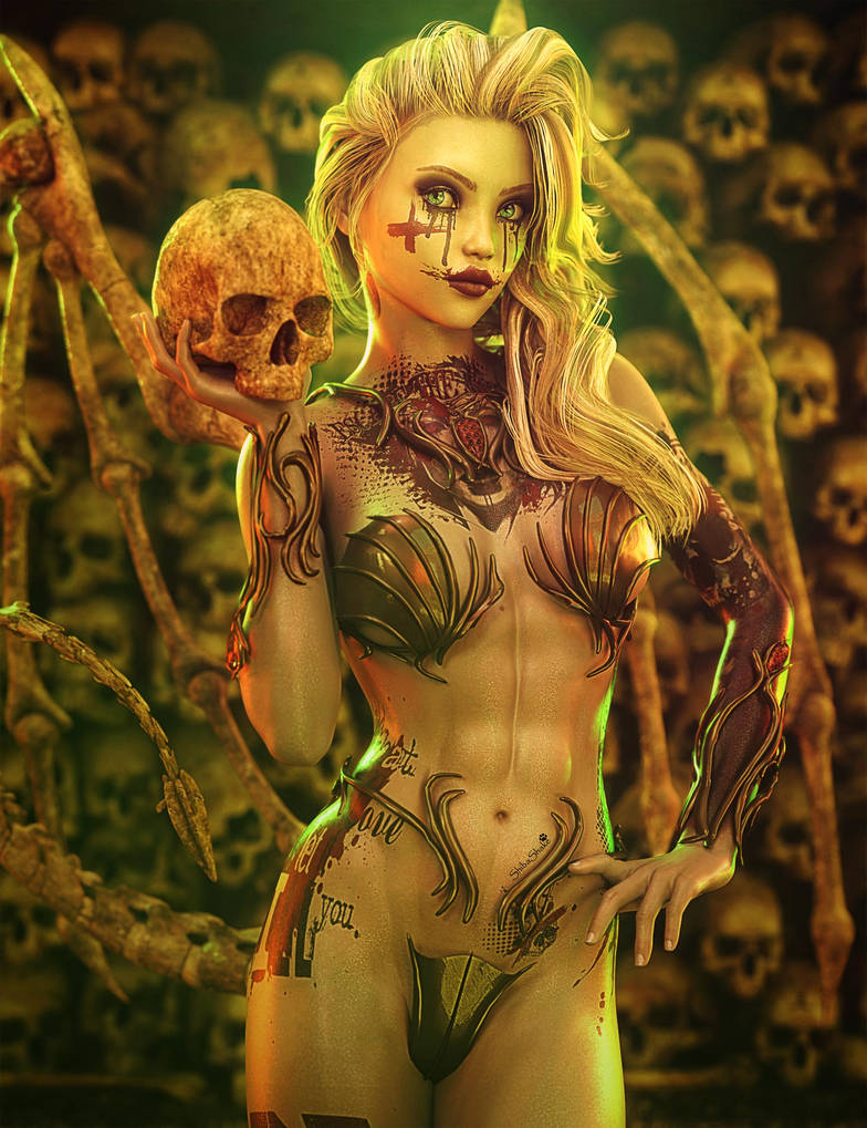 I Like Skulls, Blonde Gothic Woman Fantasy Art by shibashake