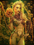 I Like Skulls, Blonde Gothic Woman Fantasy Art