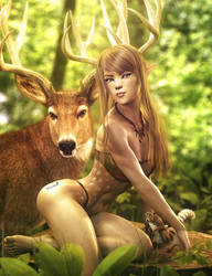 Deer Friends, Fantasy Woman Art, Daz Studio Iray by shibashake
