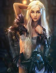 Black Dragons, White Lingerie, Fantasy Woman Art by shibashake
