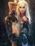 Black Dragons, White Lingerie, Fantasy Woman Art
