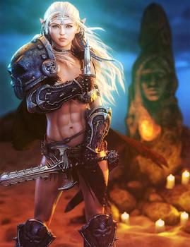 A Warrior's Prayer, Fantasy Woman Art, Daz Studio