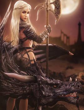 Daenerys, Warrior Queen, Fantasy Woman Dragon Art