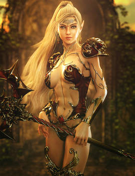 Blonde Elf Girl Pin-Up, Fantasy Woman Art, DS Iray