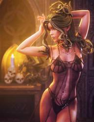 Dark Dance, Fantasy Snake Woman Art, Daz Studio