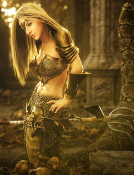 Golden Warrior, Fantasy Naga Woman Art, Daz Studio